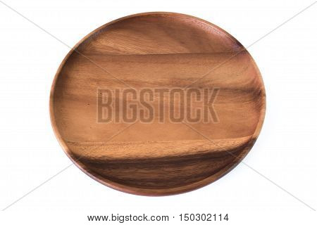 empty wood plate isolate background / Wood plate on fabric isolated on white background