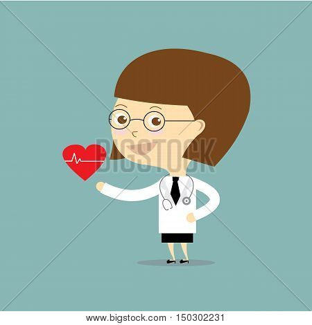 woman doctor standing with take red heart vector