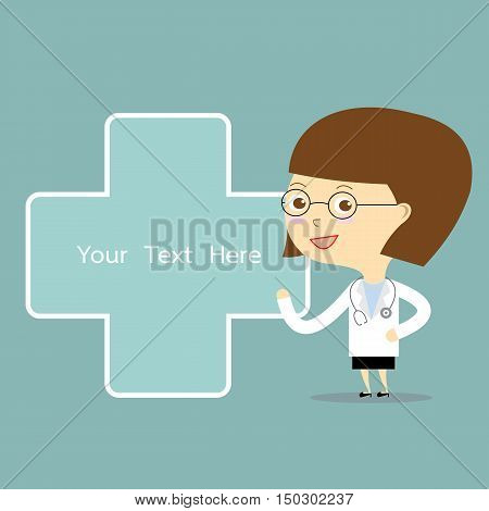 woman doctor present with blue plus and space for text vector