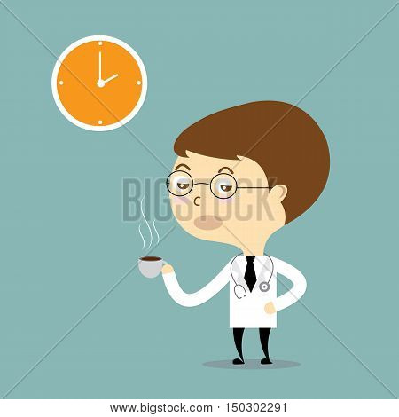doctor drink hot coffee with clock vector