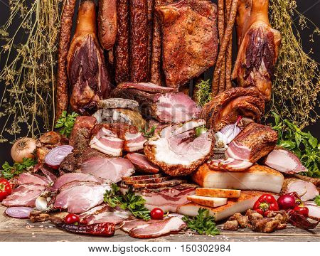 Various Smoked Pork Meat