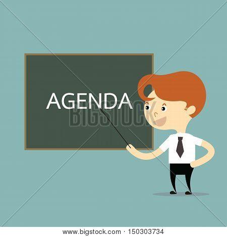 businessman teach with word agenda on blackboard vector