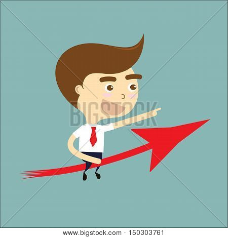 businessman go to success with red arrow vector