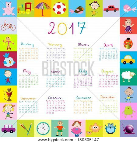 Frame with toys 2017 calandar for kids