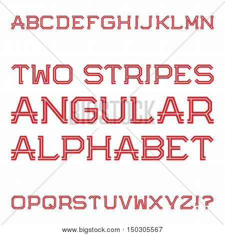 Red angular capital letters of two stripes. Fashion retro font. Isolated latin alphabet.