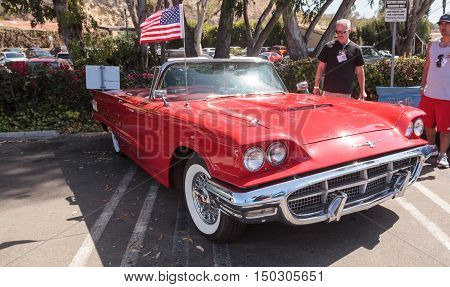 Laguna Beach, CA, USA - October 2, 2016: Red 1963 Ford Thunderbird displayed at the Rotary Club of Laguna Beach 2016 Classic Car Show, Editorial use.