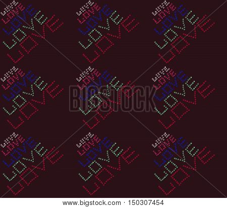 Colored transparent and shiny beads laid out the word love on a brown background.