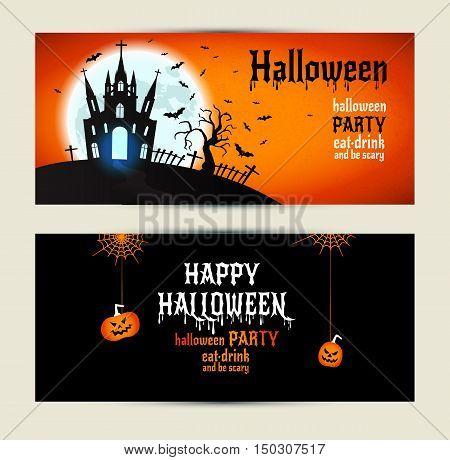 Halloween Banners Set On Orange And Black Background.