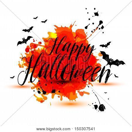 Calligraphic Text Happy Halloween On Bright Orange Blots Texture.