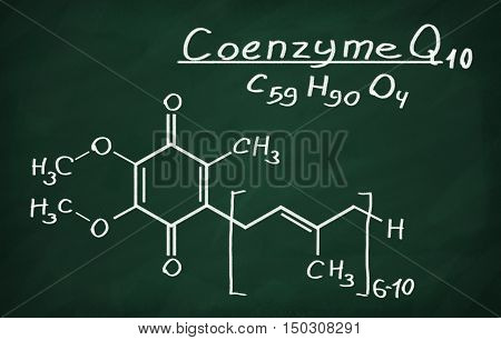 Structural model of Coenzyme Q10 on the blackboard.