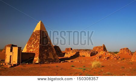 Landscape of Meroe pyramids in the desert Sudan