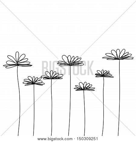 black white doodle flower vector background istolate