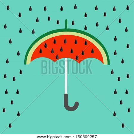 Big watermelon slice cut with seed. Umbrella and rain. Flat design icon Summer autumn fall time. Isolated. Blue sky background. Vector illustration