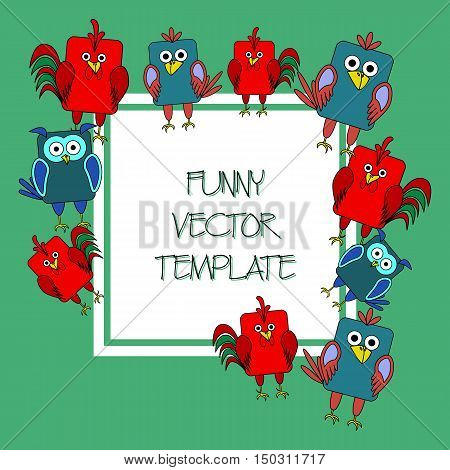 Stock vector card template for children's birthday party. Flat bird design. Rounded rectangle rooster owl crow. Template for poster banner greeting card invitation. Vector illustration