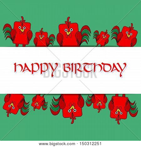 Stock vector card template for children's birthday party. Flat bird design. Rounded rectangle green and red rooster cock. Template for poster banner greeting card invitation. Vector illustration