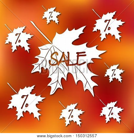 Stock vector card template for autumn sale. Abstract blurred orange background and fall leafs.Template for poster banner greeting card invitation.
