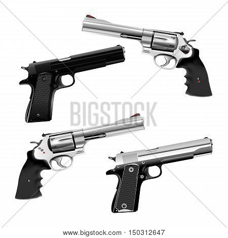 Weapons pistol and a revolver. shown in different positions isolated objects can be used with any image or text.