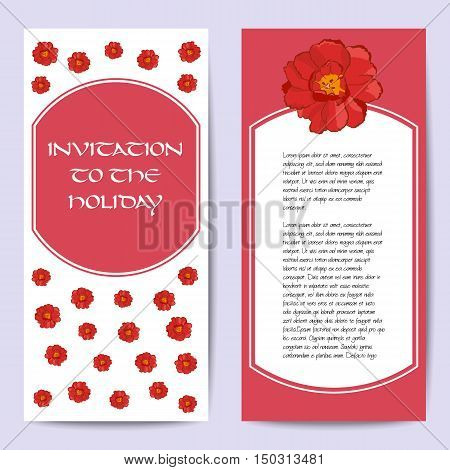 Stock vector cards template. Hand drawing tulip and narcissus. Front and back side. You can place your text in the center. Set of template for poster banner magazine presentation greeting card invitation