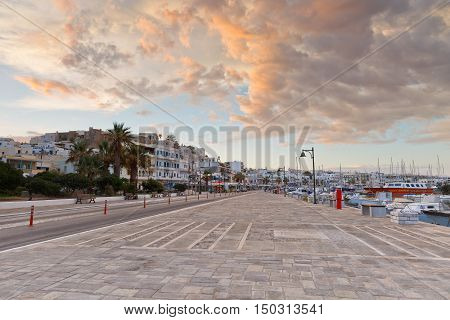 NAXOS, GREECE - SEPTEMBER 22, 2016: Seafront and the port of Naxos town on September 22, 2016.