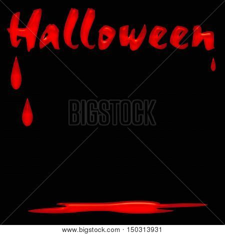 red blood dripping on black illustration Halloween greetings
