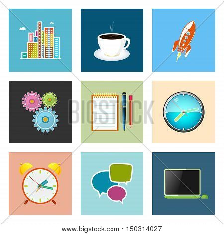 Set of Colorful Business Icons, Office Work, Team Work ,Long Hours in the Office, Presentation and Discussion, Vector Illustration
