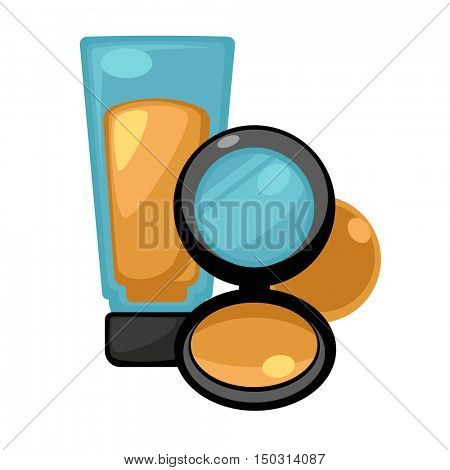 Set of cosmetic liquid foundation compact powder and corrective concealers. Vector Illustration.
