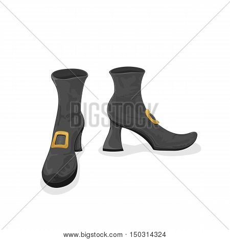 Halloween theme, black witches shoes, isolated on white background, illustration.