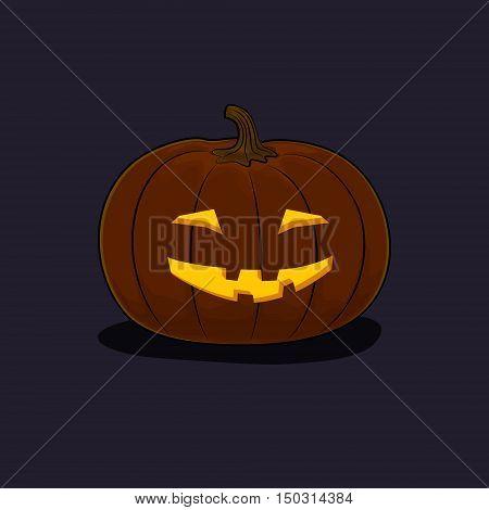 Carved Grinning Scary Halloween Pumpkin on Dark Background, a Jack-o-Lantern, Vector Illustration