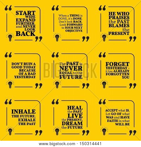 Set Of Motivational Quotes About Past, Goals, Yesterday, Future And Present. Simple Note Design Typo