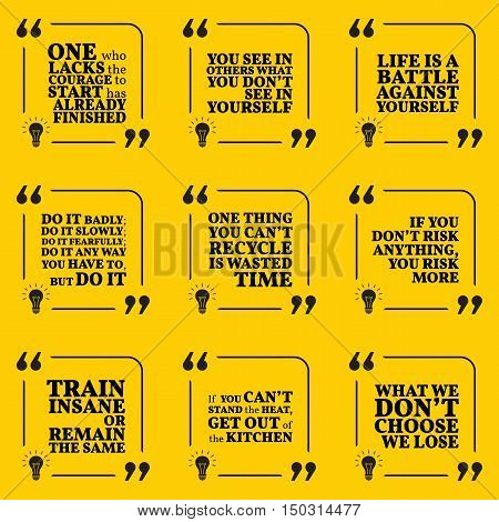 Set Of Motivational Quotes About Courage, Responsibility, Action, Life, Time, Risk, Training And Ach