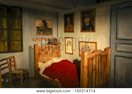 CRACOW, POLAND - AUGUST 18, 2016: The exhibition Van Gogh Alive - The Experience at The Old Train Station in Krakow. Poland