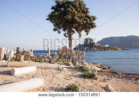 Ancient ruins and monastery in Kos Greece