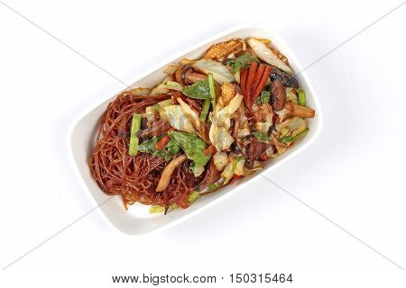 Chinese Vegetable festival  food as fried vermicelli with mixed vegetable.