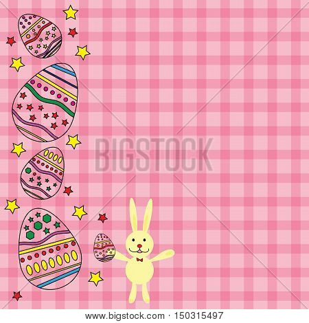 pink card for Easter with egg and rabbit vector