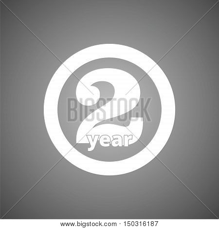 Two years sign, Two years icon on gray background