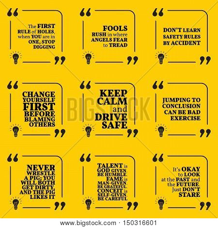 Set Of Motivational Warning Quotes About Responsibility, Fools, Rules, Blaming, Driving, Past And Fu