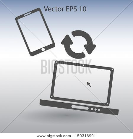 conjugation  between the phone and a laptop vector illustration