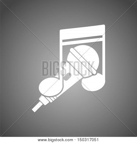 Karaoke icon, microphone icon on gray background