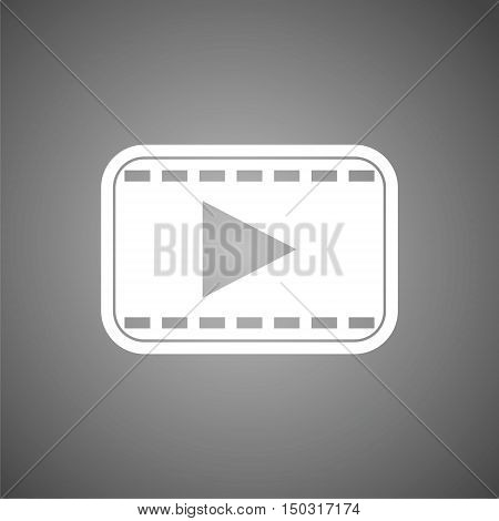 Video play icon, One of set web icon on gray background
