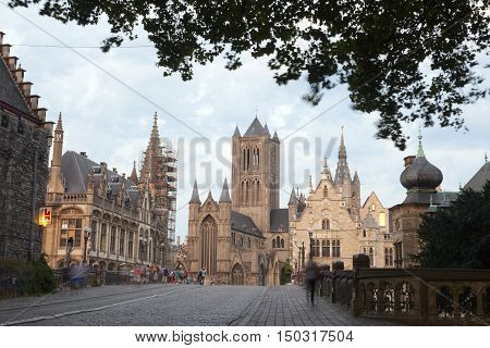 Ghent, Belgium, 27 august 2016: st niklaas church in belgian town of Gent seen from michaels bridge at night