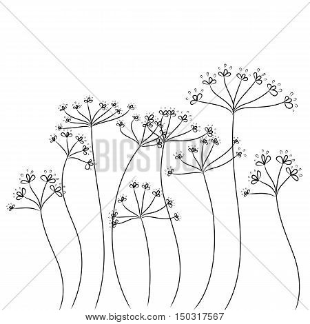 black doodle flowers background hand drawn vector