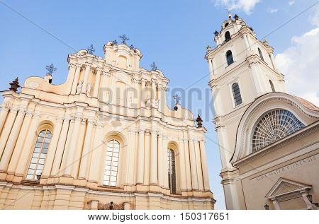 Vilnius Lithuania - September 10, 2016: Vilnius university St. Johns church and belfry