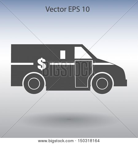 cash-in-transit vehikle with the dollar on the back vector illus