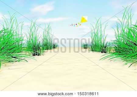 On the sea shore. Flight landscape with a kite. 3D illustration