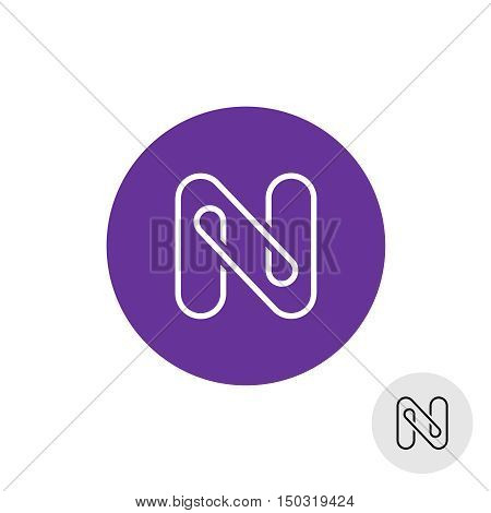 Letter N elegant linear style logo. Bent wire like.