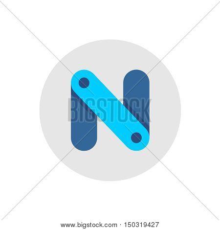 Letter N construction links blue color logo