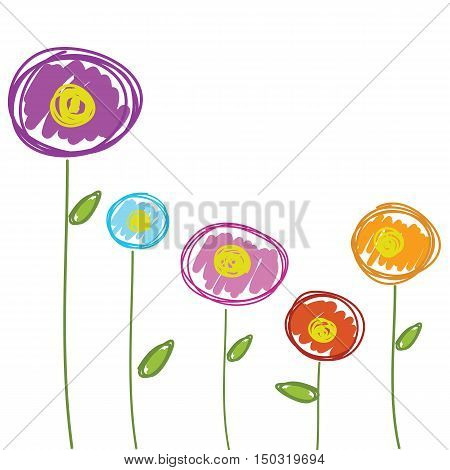 flowers drawing hand drawn for background vector