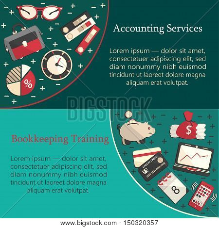 Bookkeeping card template with vector flat icons for web and print. Finance, accounting and auditing, economic and business illustration.