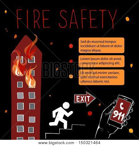 Template for fire safety instructions. A fire in a storey building. The fire on the top floors comes out of the windows. Vector illustration on a black background.