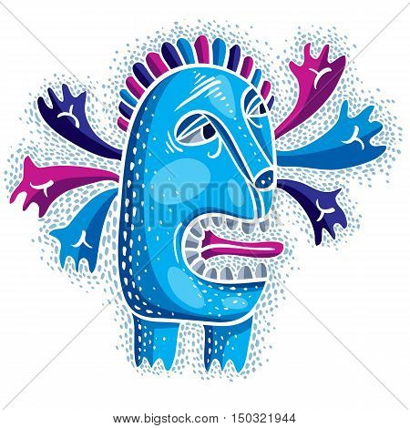 Vector Cool Cartoon Crazy Blue Monster, Simple Weird Creature. Clipart Mythic Character For Use In G